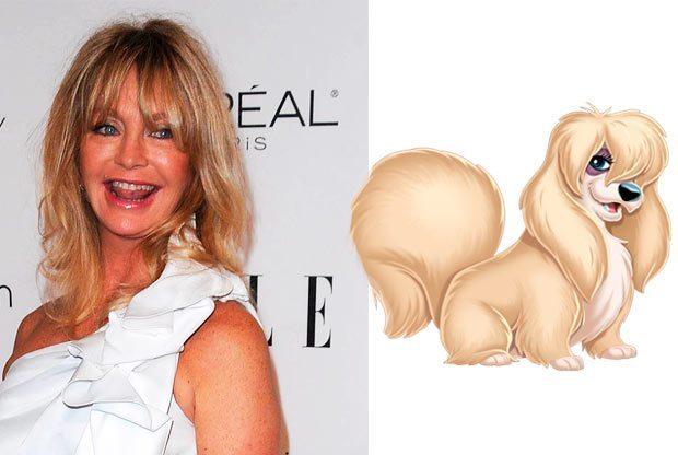 """Goldie Hawn como Lady de """"La dama y el sabueso"""", disney"""