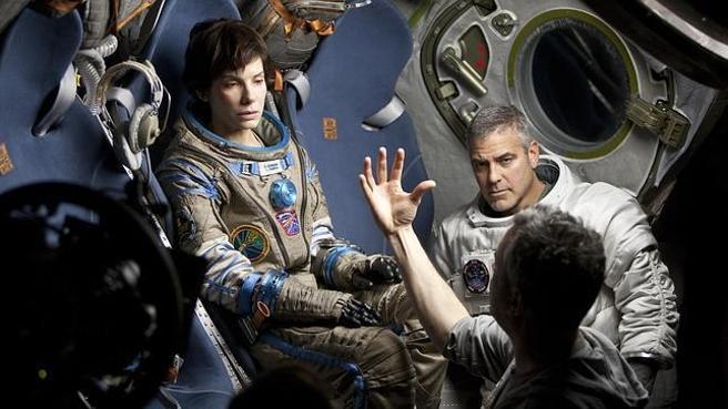"""Sandra Bullock y George Clooney en """"Gravedad"""""""