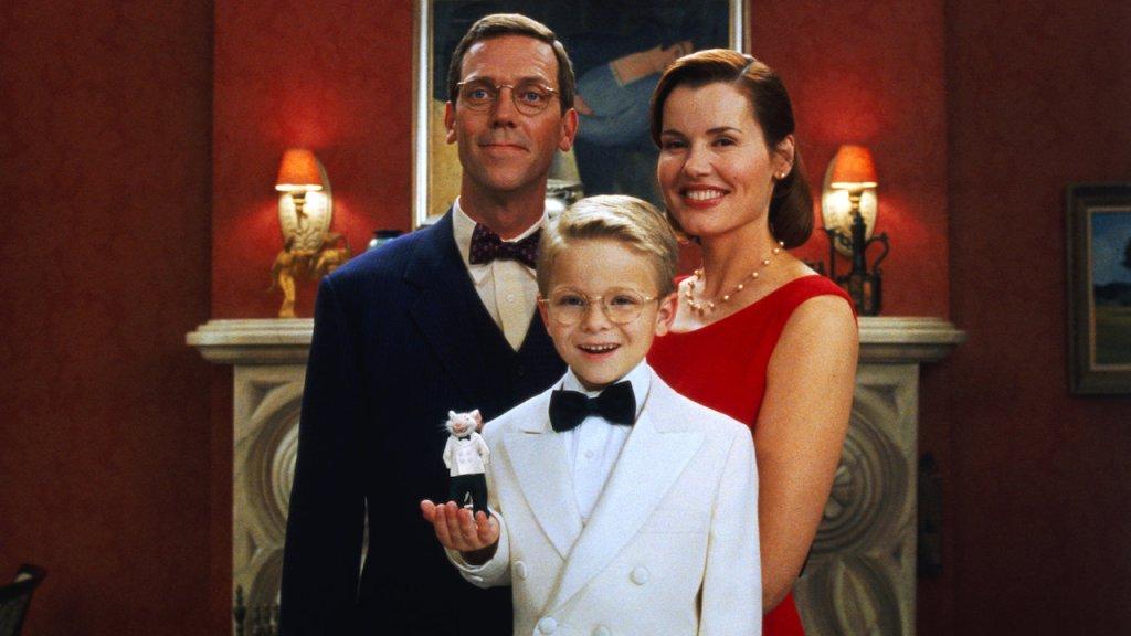 Hugh Laurie  Geena Davis, Jonathan Lipnicki y Stuart el ratón