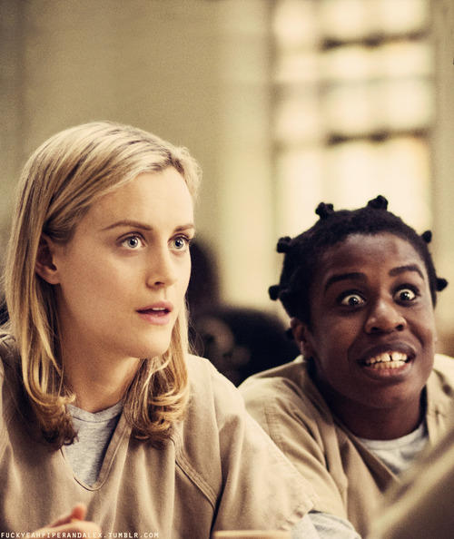 "Los personajes Piper Chapman y ""Crazy Eyes"" en ""Orange is the New Black"""